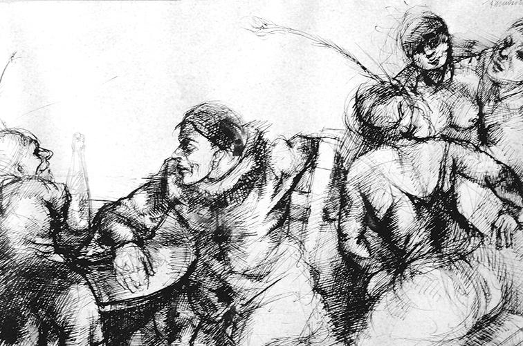 Tusche Zeichnung Ausbildung Joseph Mader