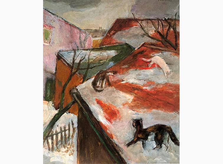 Drei Katzen auf dem Dach Joseph Mader