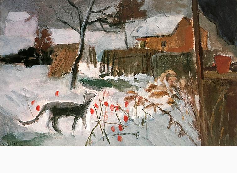 Katze winterlicher Garten Joseph Mader