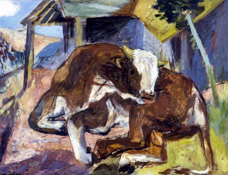 Kuh vor Stall Joseph Mader