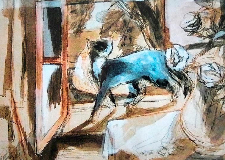 Katze am Fenster Maler Joseph Mader
