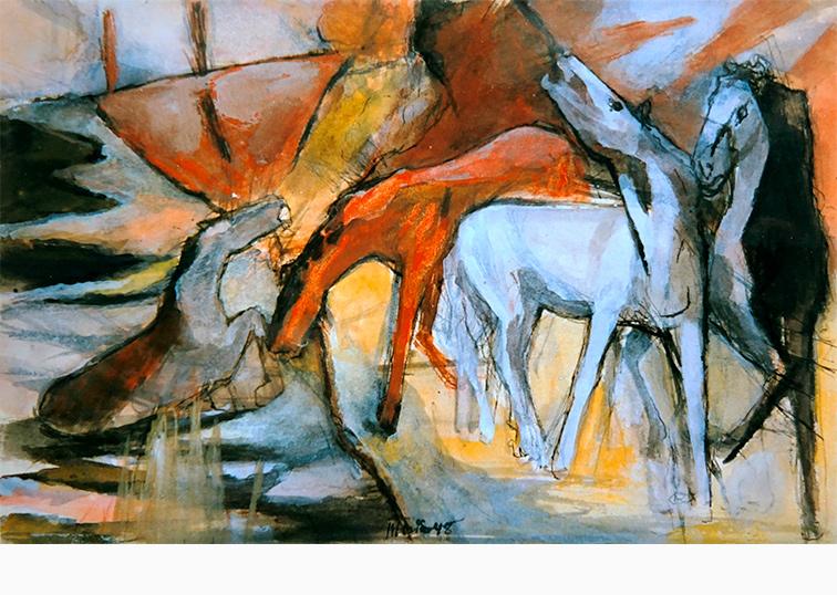 Pferde am Wasser Maler Joseph Mader