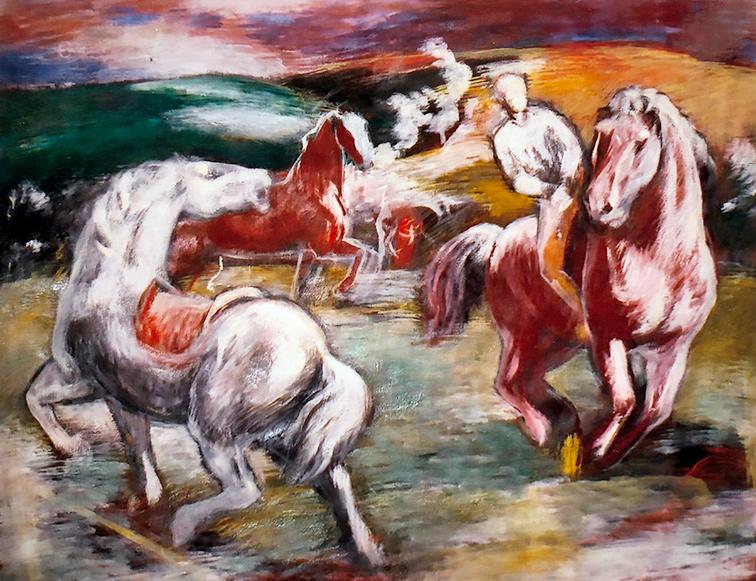 Reiter und Pferde Mischtechnik 1934