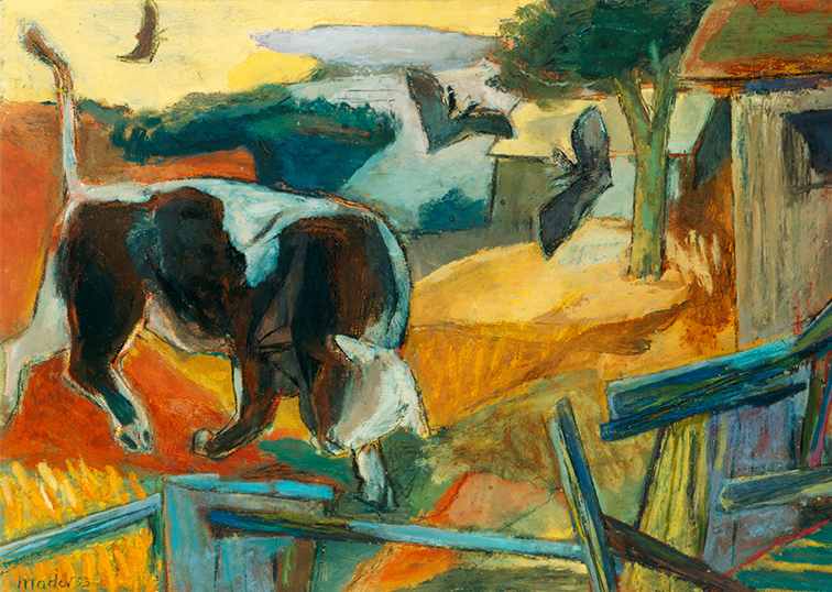Stier im Sommerabend Maler Joseph Mader