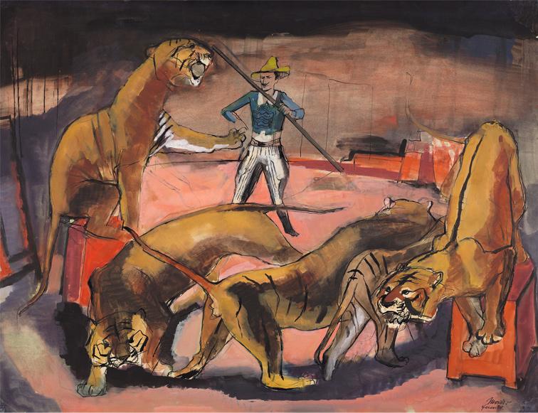 Mischtechnik Zirkus Gemälde